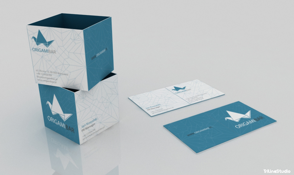 Triline Studio Origami Bar Stationary Business Card Logo 02